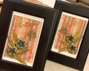 Flowers Mixed media Resin Wall Art set Framed Pictures set Hope and Believe inspirations wooden frames