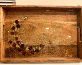 Crescent Cheese tray, Large Resin Wooden Tray Flowers leaves Charms Decorated Ottoman Tray charcuterie board