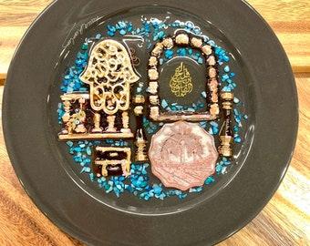 Islam Iraqi Filis Quran Arabic Decorative Plate with Resin Authentic Handmade Iraqi Art Turath Blessed Eyes on Porcelain Wall Decor Hanging