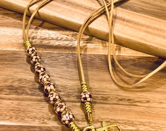 """Beige Double Faux Leather Lanyard soccer wooden beads Necklace Gold tone Chain Keys Badge ID Holder 32""""-36"""" evil eye charm"""