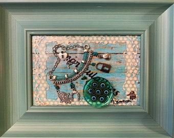 """Seven Eyes Iraqi seven eyes Picture Hamsa Blessed Hand Good Luck Decorative Framed Picture Mixed Media About 9by11"""""""