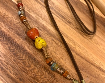 """Brown Double Faux Leather Lanyard Porcelain beads Necklace Chain Keys Badge ID Holder 32""""-36"""" Natural Brown Stone"""