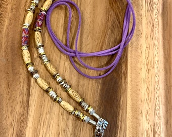 """Purple Double Faux Leather Lanyard Purple Porcelain and Wooden beads Necklace silver tone Chain Keys Badge ID Holder 32""""-36"""""""