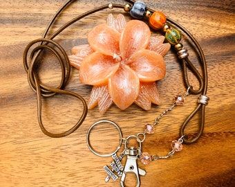 """Customized Handmade Brown Cowhide Leather cord with porcelain beads Necklace Lanyard Keys Badge ID Holder  32""""-36"""" success Happiness sign"""