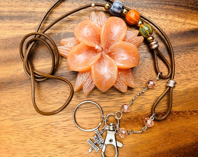 """Featured listing image: Customized Handmade Brown Cowhide Leather cord with porcelain beads Necklace Lanyard Keys Badge ID Holder  32""""-36"""" success Happiness sign"""
