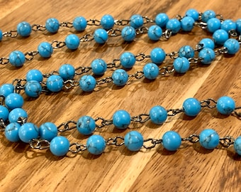 """Customized Eyeglasses Glasses Blue Natural Howlite Stone beads with Gunmetal tone Chain 30"""" length for Women Mother Grandmother sister Gift"""