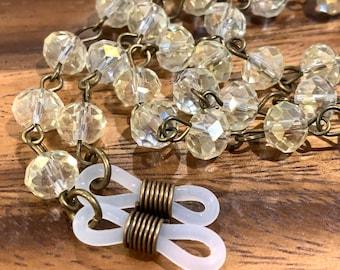 "Clear glass Beads Glasses Chain Bronze Tone Sunglasses Eyeglasses Holder Mother Friend Teacher Gift Handmade 32"" transparent clear beads"