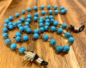"""Customized Eyeglasses Glasses Blue Natural Howlite Stone beads with Gunmetal tone Chain 31"""" length for Women Mother Grandmother sister Gift"""