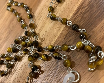 """Tiger Eyes Customized Eyeglasses Glasses Brown Yellow natural small agate beads with Silver tone Chain 31""""length for Women Mother  wife Gift"""