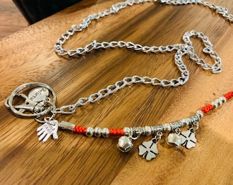 """Woman Lanyard Necklace Silver tone Chain Badge Keys ID Holder 32""""-36"""" handmade charm customized Good Luck leaves believe bells charms"""