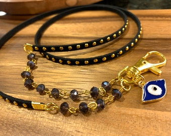 """Black Faux leather Lanyard purple glass beads Necklace Gold tone Chain  Keys Badge ID Holder  32""""-36"""" blessed evil eye Handmade Customized"""