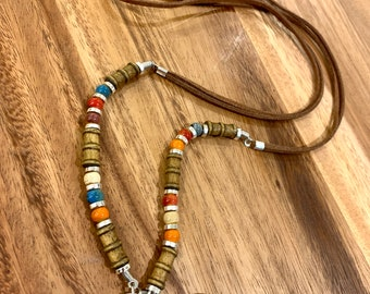 """Brown Double Faux Leather Lanyard Porcelain and Wooden beads Necklace silver tone Chain Keys Badge ID Holder 32""""-36"""" Success Money Happiness"""