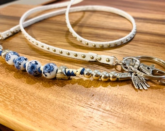 Blue Floral Bead and White Faux Leather Lanyard, Decorated ID Badge Holder Necklace, Long Beaded Lanyard Key Chain, Gift for Nurse silver
