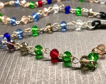 Rainbow glass Beads Glasses Chain Silver Tone Sunglasses Eyeglasses Holder Mother Grandma sister Gift Handmade mixed transparent clear bead