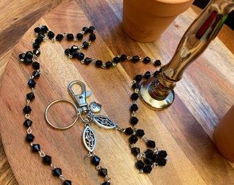 "Customized Handmade Black EyeGlass Necklace Glass with Silver tone Chain Lanyard Badge ID Holder Lanyard Keys badge holder 32""-36"""