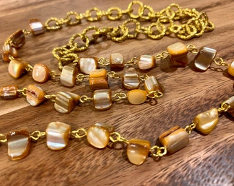 """Customized Eyeglasses Glasses Apricot Irregular Sea Shells beads with Gold tone Chain 31"""" length for Women Mother Grandmother sister Gift"""