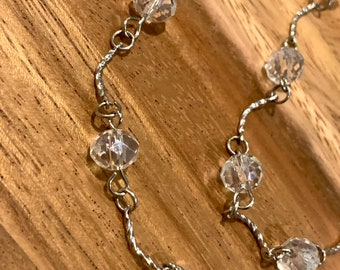 "Clear glass Beads Glasses Chain Silver Tone Sunglasses Eyeglasses Holder Mother Grandma sister Gift Handmade 34"" transparent clear bead"