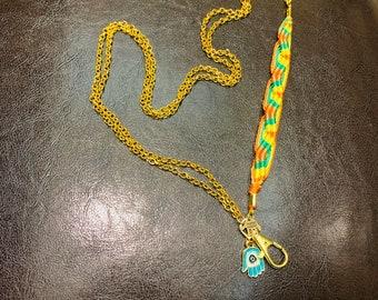 "Rainbow Lanyard Keys badge holder eyeglasses Necklace with blessed Hand Hamsa eye Golden Chain Badge ID Holder 32""-36"" Handmade Customized"