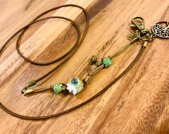 """Cowhide Leather Lanyard cord Flower Porcelain Tree of Life charm and green Porcelain beads Bronze tone Necklace Keys Badge ID Holder 32""""-36"""""""