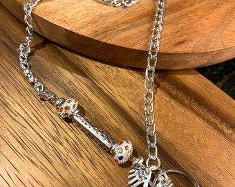"Woman Lanyard Eyeglasses Necklace Silver tone Chain Lanyard Badge ID Holder Lanyard Keys badge holder 32""-36"" handmade charm customized"