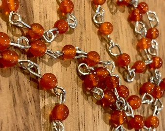 """Customized Eyeglasses Glasses Small Orange Natural Carnelian Beads with Silver tone Chain 31""""length for Women Mother  wife Gift"""