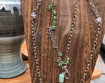 """Green Stone Lanyard Glass beads with Happiness Silver tone Chain Badge ID Holder Keys badge holder Eyeglasses Necklace 32""""-36"""" Customized"""