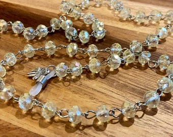 "Clear glass Beads Glasses Chain Silver Tone Sunglasses Eyeglasses Holder Mother Friend Teacher Gift Handmade 32"" transparent faceted beads"