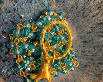 "Customized Handmade Sky Blue EyeGlass Necklace Glass Beads Gold tone Chain Lanyard Badge ID Holder Lanyard Keys badge holder 32""-36"""
