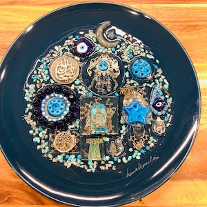 Unique Authentic Handmade Iraqi Art Tradition Culture Floral Porcelain Plate With Resin Fancy Decorative Personalized Wall Decor Hanging
