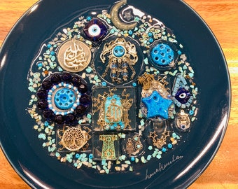 Arabic Decorative Plate with Resin Authentic Handmade Iraqi Art Traditional Blessed Eyes on Porcelain Fancy Decoration Wall Decor Hanging