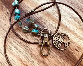 "Tree of Life Lanyard Irregular Turquoise-Brown Sea Shell Eyeglasses Necklace Bronze tone Chain Badge ID Holder Keys holder 32""-36"" Handmade"