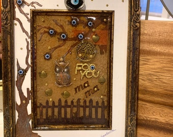 Tree of life Framed Picture Blessed eye Iraqi Art Hamsa Seven Eyes Owl Good Luck Decorative Framed Picture Mixed Media