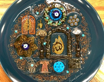 Mashallah Islam Allah Arabic Decorative Plate with Resin Authentic Handmade Iraqi Art Turath Blessed Eyes on Porcelain Wall Decor Hanging