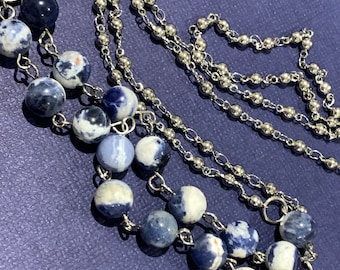 Blue Sodalite Stone Eyes Customized Face mask chain holder Natural beads with Silver tone Chain for Women Wife Grandmother Gift