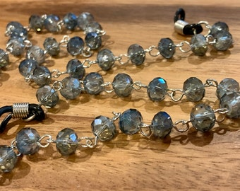 Blue Gray faceted glass Beaded Glasses Chain, Silver Tone Necklace Chain for Eyeglasses, Jewelry Gift for Women, Mother Grandmother sister