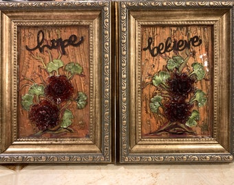 Flowers Mixed media Resin Wall Art decor set Framed Pictures set Hope and Believe inspirations