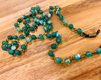 """Customized Eyeglasses Glasses Green Nature Agate glass beads with Bronze tone Chain 33"""" length for Women Mother Grandmother sister Gift"""