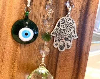 "Crystal Suncatcher Glass Islam Quran Sura Hamsa Hand Blue Evil Eye Protection wall decor hanging Rainbow Maker 13"" Green Sun Catcher"