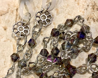 """Purple Blue Gray Small Glass Beaded Glasses Chain Silver Tone Eyeglasses Necklace Chain Gift for Women, Mother Grandmother sister Gift 31"""""""
