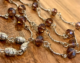 "Purple glass Beads Glasses Chain Silver Tone Sunglasses Eyeglasses Holder Mother Grandma sister Gift Handmade 31"" transparent clear bead"