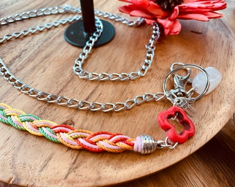 "Rainbow Braided Lanyard Eyeglasses chain Necklace Silver tone Chain with Stone Badge ID Holder Keys badge holder 32""-36"" handmade"