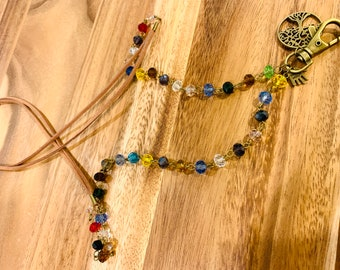 """Beige Double Faux Leather Lanyard rainbow transparent beads Necklace Bronze tone Chain Keys Badge ID Holder 32""""-36"""" Tree of Life charm"""