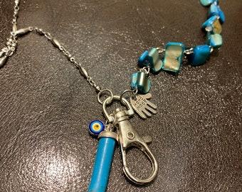 "Blessed Evil Eye Lanyard Irregular Blue Sea Shell Eyeglasses Necklace Beads Silver tone Chain Badge ID Holder Lanyard Keys holder 32""-36"""