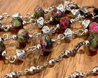"Eyeglasses Sunglasses Holder natural Rubi pink green stone Beads Glasses Silver Tone Mother Grandma wife mom Gift Handmade customized 32"""