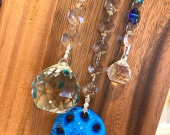 "Crystal Suncatcher Glass Blessed Evil Eye Protection wall decor hanging Rainbow  Maker 12"" Blue Sun Catcher"