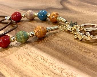 "Hamsa Eye Lanyard Brown cowhide cord leather porcelain beads Necklace Glass Gold tone Chain Customized Badge Keys ID Holder 32""-36"" Evil Eye"