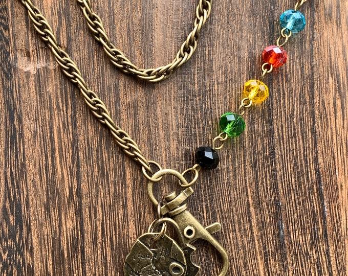 "Featured listing image: Lanyard Keys badge holder customized eyeglasses Necklace with Bronze tone Chain and glass stoned Lanyard Badge ID Holder 32""-36"""