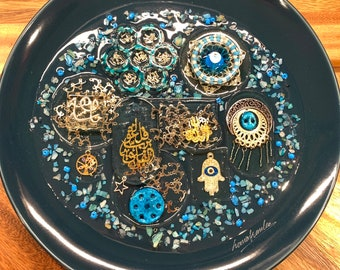 Arabic Decorative Plate with Resin Authentic Handmade Iraqi Art Tree of Life Blessed Seven Eyes on Porcelain Wall Decor Hanging Mashallah