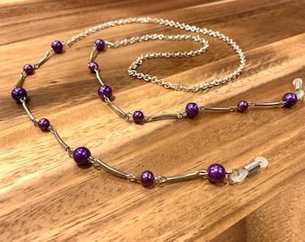 """Silver accent purple pearl Eye Glasses Eyeglasses chain Chain 27"""" length glasses chain sister Friend gift mother grandmother wife gift"""