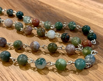 """Natural Agate Customized Eyeglasses Glasses Green Natural Indian Agate beads with Silver tone Chain 30"""" length for Women Mother wife Gift"""
